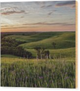 Pano - Flint Hills Sunset   Wood Print