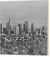 Pano Los Angeles City Black White Wood Print