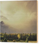 Panorama Clearing Storm Over The Grand Tetons Wood Print