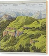 Panorama Drawn From The Rigi Mountain Wood Print