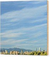 Blue Sky Over Vancouver City Skyline. Wood Print