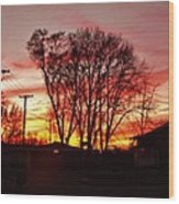 Panorama    Mid Winter Sunset In The City       Indiana Wood Print
