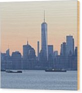 Panorama New York City Skyline At Sunrise Wood Print