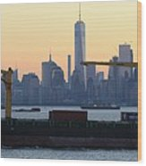 Panorama New York City Skyline With Passing Container Ship Wood Print