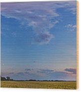 Panorama Of A Colorful Sunset Wood Print