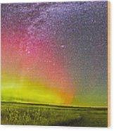 Panorama Of An Aurora And The Milky Way Wood Print