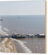 Panorama Of Blackpool Beach Wood Print
