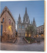 Panorama Of Cathedral Of The Holy Cross And Saint Eulalia In The Wood Print