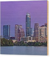 Panorama Of Downtown Austin Skyline From The Lady Bird Lake Boardwalk Trail - Texas Hill Country Wood Print