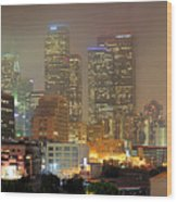 Panorama Of Downtown Los Angeles In The Fog Wood Print