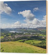 Panorama Of Keswick And Lake Derwent Water Panorama From Latrigg Wood Print