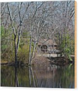 Panorama Of Lake, Trees And Cabin Wood Print