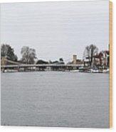 Panorama Of Marlow Bridge In Winter Wood Print