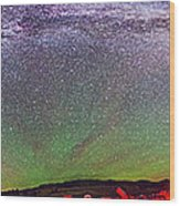 Panorama Of Milky Way Above The Table Wood Print
