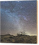 Panorama Of Milky Way And Zodiacal Wood Print