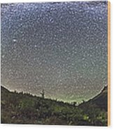 Panorama Of Milky Way Over Red Rock Wood Print
