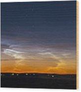 Panorama Of Noctilucent Clouds Wood Print