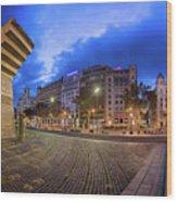 Panorama Of Placa De Catalunya In The Morning, Barcelona, Spain Wood Print