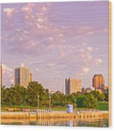 Panorama Of South Side Of Chicago Skyline And One Museum Park From Shedd Aquarium - Chicago Illinois Wood Print