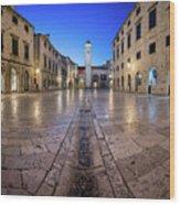 Panorama Of Stradun Street And Luza Square In Dubrovnik, Dalmati Wood Print