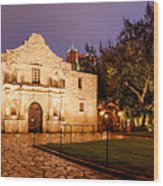 Panorama Of The Alamo In San Antonio At Dawn - San Antonio Texas Wood Print