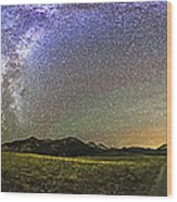 Panorama Of The Milky Way And Night Sky Wood Print