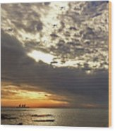 Panorama Of The Sunset In Caesarea Wood Print
