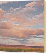 Panorama Of Twilight Clouds Over Tetilla Peak Recreation Area - Cochiti Lake New Mexico Wood Print