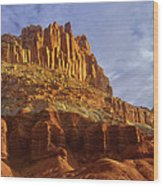 Panorama The Castle On A Cloudy Morning Capitol Reef National Park Wood Print