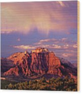 Panorama West Temple At Sunset Zion Natonal Park Wood Print