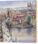 Panorama With Vltava River Charles Bridge And Prague Castle St Vit Wood Print