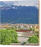 Panoramic Aerial View Of Innsbruck And Hafelekarspitze Mountain Wood Print