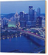Panoramic Evening View Of Pittsburgh Wood Print