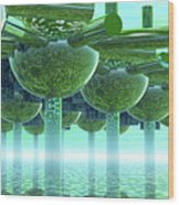 Panoramic Green City And Alien Or Future Human Wood Print
