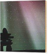 Panoramic Inukshuk Northern Lights Wood Print