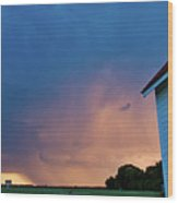 Panoramic Lightning Storm And Church Wood Print