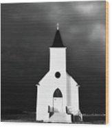 Panoramic Lightning Storm And Prairie Church 2 Wood Print