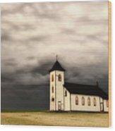 Panoramic Lightning Storm And Prairie Church Wood Print