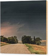 Panoramic Lightning Storm In The Prairie Wood Print