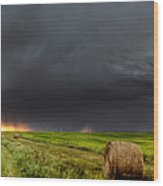 Panoramic Lightning Storm In The Prairies Wood Print