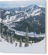 Panoramic Mountain Top View Of Popular Washington Resort Wood Print