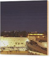 Panoramic Night View Of The Wailing Wall  Wood Print