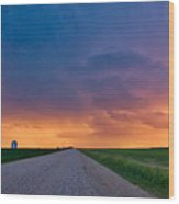 Panoramic Prairie Lightning Storm Wood Print