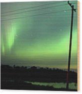 Panoramic Prairie Northern Lights Wood Print