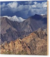 Panoramic Rocky Landscape Of Leh City Ladakh Jammu And Kashmir India Wood Print