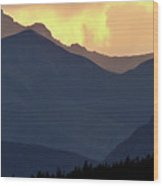 Panoramic Rocky Mountain View At Sunset Wood Print