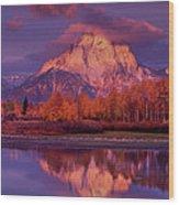 Panoramic Sunrise Oxbow Bend Grand Tetons National Park Wood Print