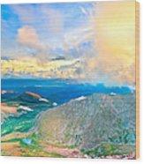 Panoramic Sunset On Mount Evans Wood Print