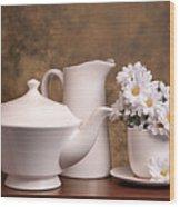 Panoramic Teapot With Daisies Wood Print