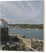 panoramic town 1  - Panorama of Mahon Menorca with old town and harbour Wood Print